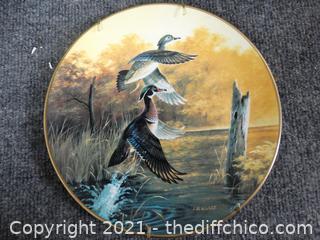 "Ducks Unlimited Numbered Plate- Wood Ducks Taking Flight    8"""