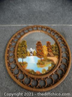 Wicker Framed Mirror Painting