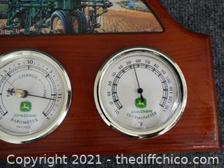 "John Deere Green Barometer 14"" x 9"""