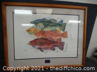 "Bass Of Color Framed Art Signed 39"" x32"""