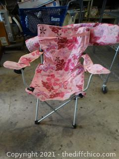 Pink Fold Up Chair With Bag