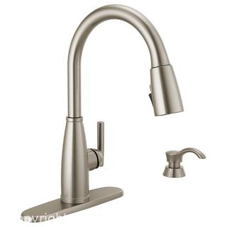 NEW Delta Varos Pull-Down Kitchen Faucet Single Handle w/ Soap Dispenser Stainless