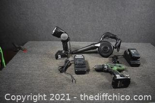 Hitachi Blower, Drill, Flashlight, 3 Batteries and 2 Chargers