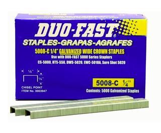 "Duo Fast 5008C 20 Gauge Galvanized Staple 1/2""Crown x 1/4""Length - 3 Boxes (J4)"