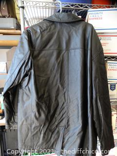 Tuskany Leather Black Leather Coat 2XL