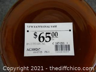 Unique Oval Vase Black/ Gold