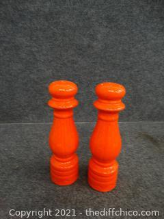 Large Orange Salt & Pepper Shakers