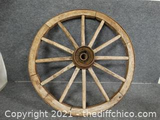 "Wood Wagon Wheel Heavy 32"" plus"