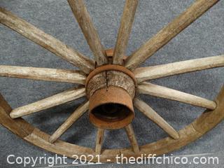 "Wood Wagon Wheel Heavy 32"" plus"