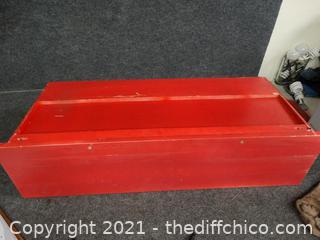 "Red Shelf / Coat Rack  36"" x 14"" x 12"""