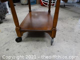 """Rolling Foldable Tea Cart 37"""" x 28"""" x 27 1/2"""" --------------down is 20"""" when leaves are down"""