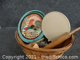 Kitchen Stuff In Large Basket
