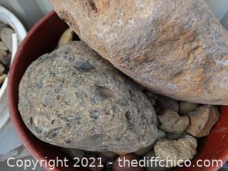 Red Bucket Of River Rocks