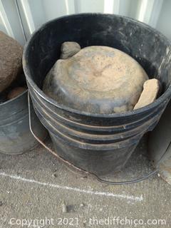 Black Bucket Of Rocks