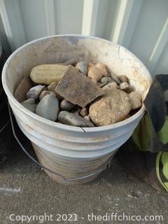 White Bucket Of Rocks