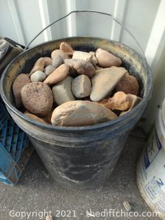 Black Bucket Of Rocks