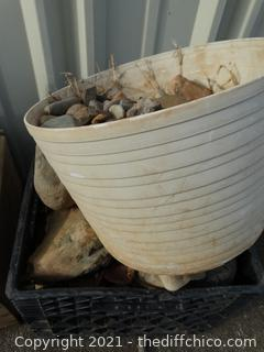 Crate & White Planter with Rocks