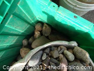 Green Tub & Small White Bucket Of Rocks