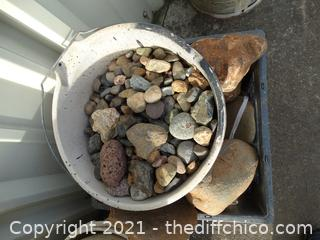 Blue Crate & White Bucket Of Rocks