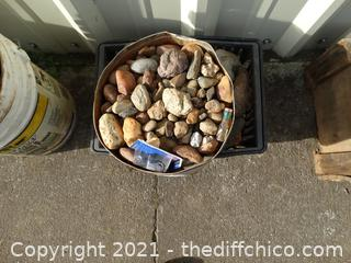 Gray Crate & Tin Tub Of Rocks