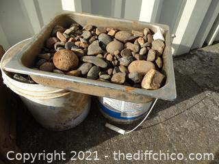 2 Buckets Of Rocks 1  Pan of Rocks