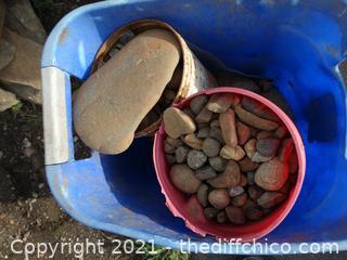 Blue Tub Of Rocks with Buckets Inside