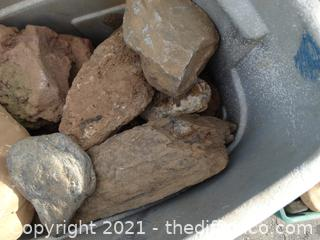 Large Trash Can Of Rocks