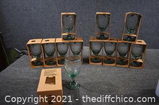 12 NIB Spanish Green Glasses