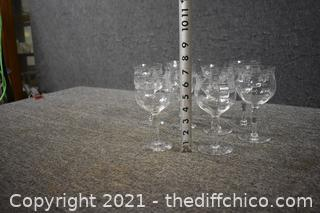 8 Etched Crystal Glasses