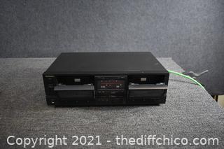 Technics Dual Cassette Player - powers up