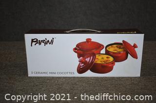 NIB Parini 3 Ceramic Mini Cocottes