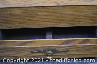 Wood Flatware Box w/drawer and some flatware