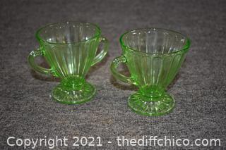 Green Glass Cream and Sugar