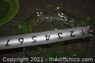 2 Pieces of Green Glass-plate and dish