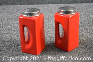 Pair of Red Salt and Pepper Shakers