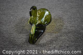Hand Blown Green Glass Swan