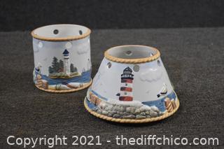 Porcelain Light House Candle Holder