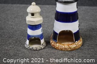 2 Light House Candle Holders