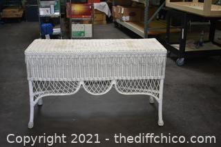 White Wicker Sofa Table