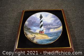 Framed Light House Collector Plate