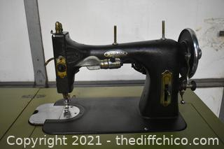 White Rotary Sewing Machine w/cabinet-motor runs as is