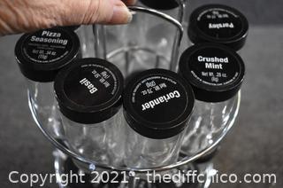 Turning Glass Jar Spice Rack w/Jars