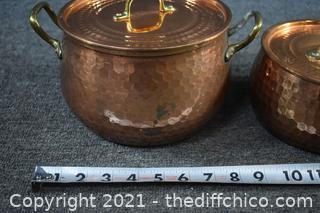 2 Tagus Copper Brass Pans w/lids