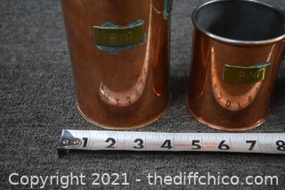 3 Vintage Copper Measuring Cups