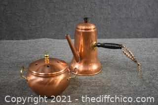 Copper Coffee Pot and Covered Dish