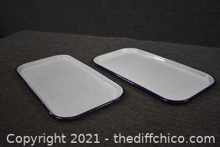 2 Enamel Trays w/blue trim