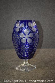 Cobalt Blue Heavy Crystal Vase