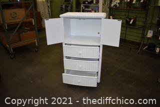 White Wicker 3 Drawer Dresser
