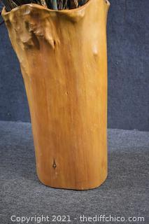 Wood Vase w/Artificial Floral Arrangement