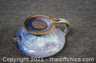 Vintage Pottery Signed Tea Pot